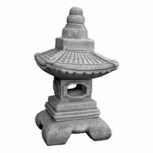 gartendekoparadies.de Schwere Massive Oki Gata japanische Steinlaterne aus Steinguss frostfest (Grau)