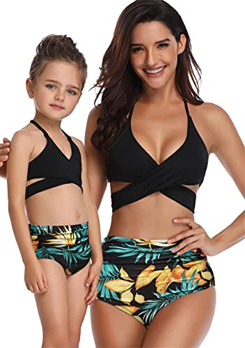 WIWIWIQS - Conjunto de bikini para bebés y niñas, diseño de familia, Cuello halter, XL, Bl-yellow Flower