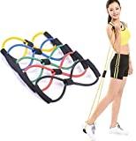 Kushahu Chest Expander Resistance 8 Type Muscle Chest Expander Rope Workout Pulling Exerciser Fitness Solid Rubber Figure 8 Resistance Toning Tube (Multi-Color)
