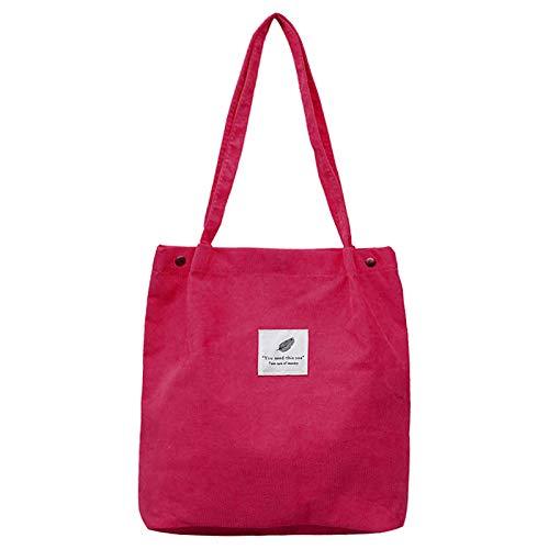 Corduroy Tote Bag Large Shoulder Bag Corduroy Fashion Handbag Retro Casual Bag for Women Girls Reusable(Red)