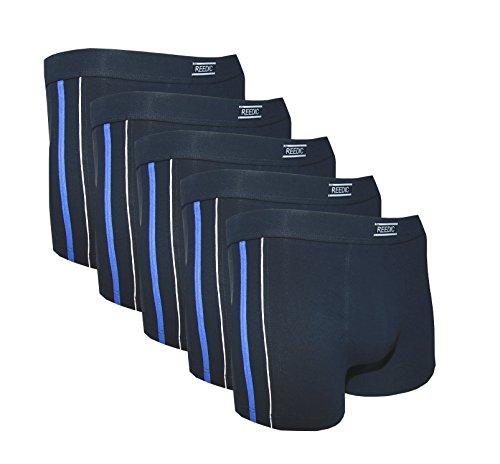 Reedic Herren Boxershorts, Baumwolle, 5er Pack, Größe Large (L), Farbe je 5X dunkelblau