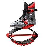 HYE Adolescentes Saltando Zapatos Botas para Correr antibravelizadas Aire Libre rebotar Saltar fácilmente Espacio de Bouncer Zapatos de Rebote adecuados para niños/niñas 30-50kg,Gray Red
