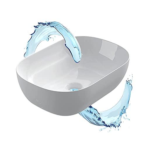 STARBATH PLUS - Lavabo da bagno - Lavabo in ceramica ovale bianco lucido- Ceramica extra fine - Foro di scarico universale - 46x33x13 cm