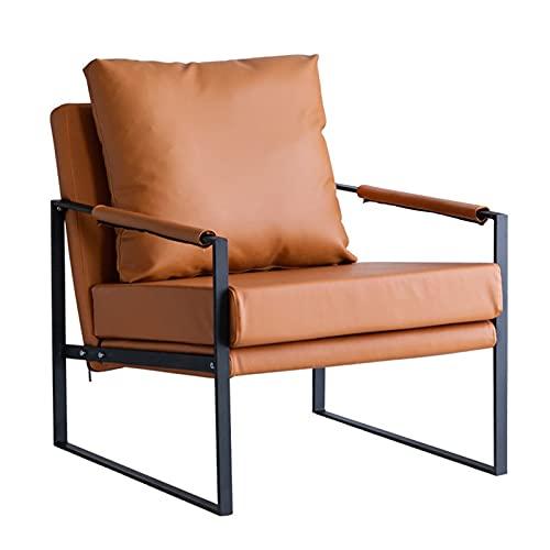 butacas para Dormitorio tapizada,sillón de Cuero de Marco de Metal, Silla de salón Vintage,Sala de Estar sillón de TV sofá Cama Suave Asiento Retro Silla,Naranja