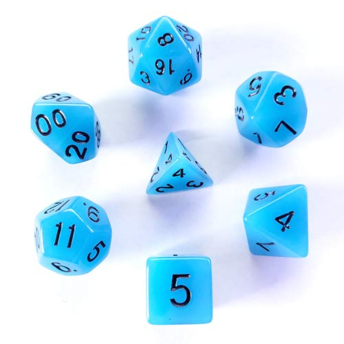 Galactic Dice HD Dice Sets - Blue (Glow-in-The-Dark) Set of 7 Dice