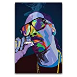 Póster de la canción 'Rapper Snoop Dog Pop Art Music Singer' de Hiphop - Póster de lienzo y arte de la pared para decoración de dormitorio familiar moderno de 40 x 60 cm