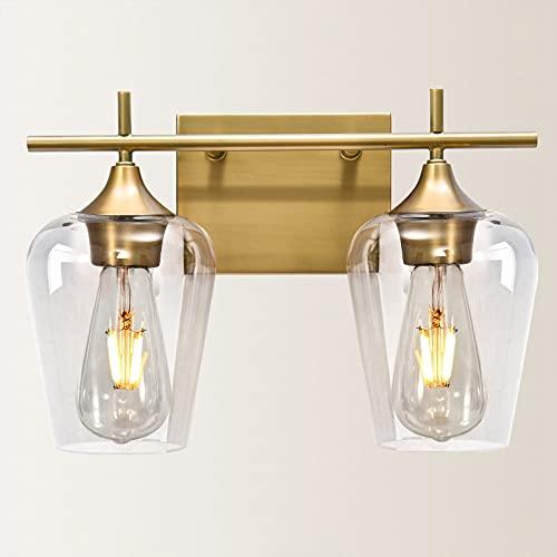 Vanity Lights Fixtures, Zicbol 2 Light Bathroom Light, Brass Bathroom Lighting Fixtures Over Mirror with Clear Glass Shade, Modern Vanity Lighting for Bath, Living Room, Bedroom