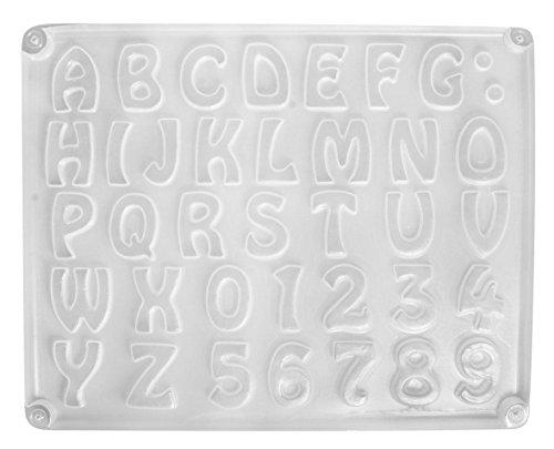 RAYHER 36014000, gietvorm letters/cijfers, 37 motieven, ca. 2-3 cm, afmeting 23,2 x 18,3 cm