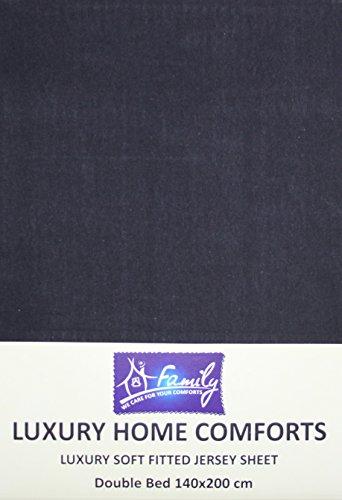 Familiebeddengoed katoenen jersey hoeslaken met tweepersoonsbed, 140 x 200 cm, zwart