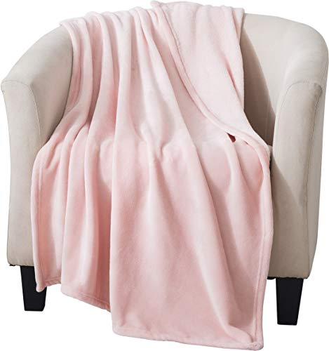 Style Basics Silky Soft Thick Plush Sofa Throw Blanket (Light Pink, Throw 50 X 70)