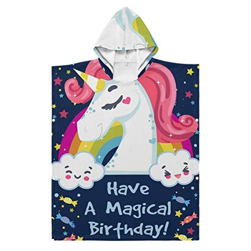 LORONA Kids Teens Polyester-Katoen Blend Verjaardagskaart met Eenhoorn en Bericht Strandhanddoek Mantel Deksel Draagbare Hooded Deken Hoodie Mantel