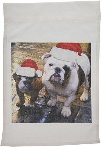 3dRose FL_63087_1 Englische Bulldogge Weihnachten mit Weihnachtsmützen, Gartenflagge, 30,5 x 45,7 cm