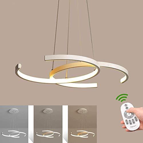 UWY Candelabro LED Creativo Moderno Que Puede ser de atenuación Continua Marco de Metal Retro Lámpara Colgante Hogar Sala de Estar Bar Decoración Lámpara, Blanco