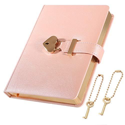 [cofumi] 日記帳 鍵付き 手帳 B6 予備の鍵を付けます 横罫8mm PUレザーカバー 日付なし おしゃれ かわいい 女の子 ギフト ダイアリー (ピンク)