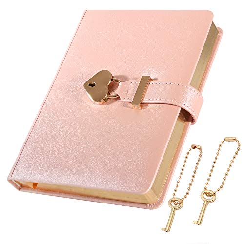 cofumi 日記帳 鍵付き 手帳 B6 横罫8mm 予備鍵 PUレザーカバー おしゃれ 女の子 ギフト (ピンク)