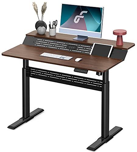 Fenge 電動昇降デスク スタンディングデスク パソコンデスク 無段階高さ調整 2段式天板 テレワーク 配線穴...