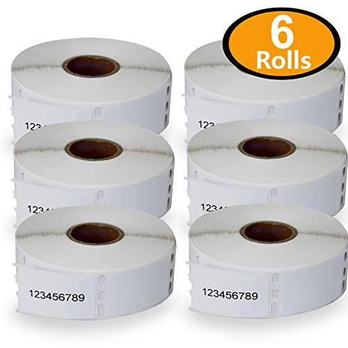 """BETCKEY - Compatible DYMO 30333 (1/2"""" x 1"""") Extra Small 2-Up Multipurpose Labels - Compatible with Rollo, DYMO Labelwriter 450, 4XL & Zebra Desktop Printers[6 Rolls/6000 Labels]"""