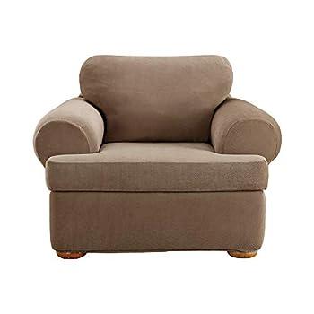 SureFit Home Décor Sure Home Décor Pique T-Cushion Chair Three Piece Slipcover Stretch Form Fit Polyester/Spandex Machine Washable Taupe Color