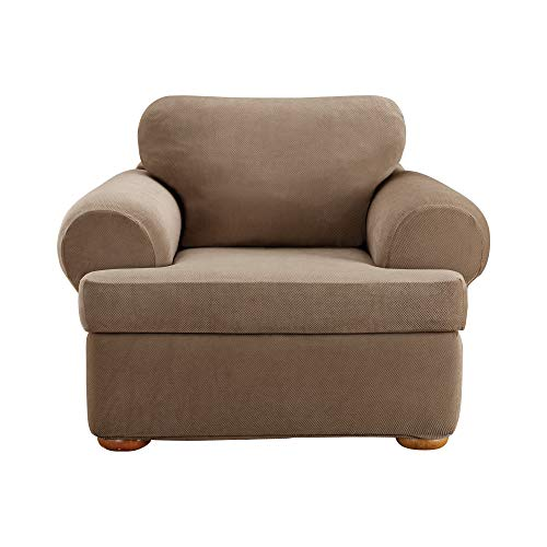 Surefit Sure Home Décor Pique T-Cushion Chair Three Piece Slipcover, Stretch Form Fit, Polyester/Spandex, Machine Washable, Taupe Color