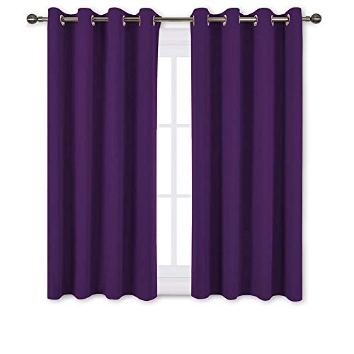 NICETOWN Blackout Curtains Drapery Panels - Window Treatment Royal Purple Blackout Drapes for Bedroom/Living Room Window, 52 inch Wide X 45 inch Long, 2 Panel Set