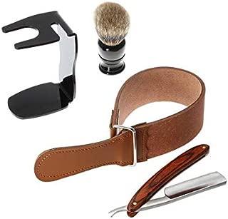 4 in 1 Straight Razor + Shaving Brush + Brush Stand + Leather Strop Strap Man's Shaving Brush Set Razor Tools Kit