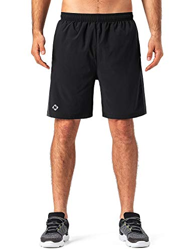 "Naviskin Men's 7"" Quick Dry Running Shorts Workout Shorts Mesh Panels Zip Pocket"