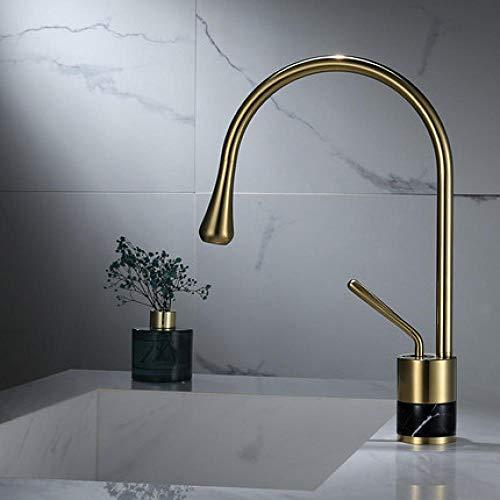 Grifo del lavabo del baño del mezclador de mármol de latón caliente y frío del oro pulido corto de oro,GVVJQBFFGBUPN