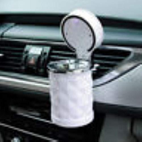 Cenicero móvil para coche, cenicero con luz LED, para viaje, para cenizas de cigarrillos, cenicero de barril, duradero, elegante y seguro, blanco, 75 x 120 mm