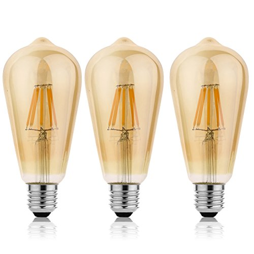KJLARS E27 ST64 8W Lampadina LED, 2300K Chiaro Vetro Filamento Della Lampadina Bianco Caldo Lampadine a Pallina (3 Pack)