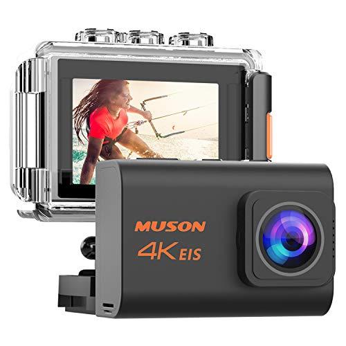 MUSON(ムソン) アクションカメラ 4K 高画質 手振れ補正付き webカメラ WiFi搭載 リモコン付き 外部マイク対応 40M防水 2000万画素 170度広角レンズ 2インチ液晶画面 HDMI出力 水中カメラ 防犯カメラ スポーツカメラ ウェアラブルカメラ 自撮り棒付き 1200mAhバッテリー2個付き [メーカー1年保証] Pro3 (ブラック)