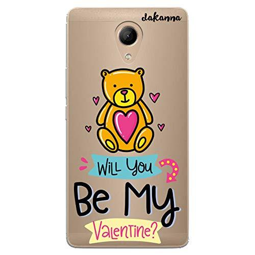 dakanna Funda para [Wiko Robby] de Silicona Flexible, Dibujo Diseño [Osito Amoroso con Frase: Will You be my Valentine], Color [Fondo Transparente] Carcasa Case Cover de Gel TPU para Smartphone