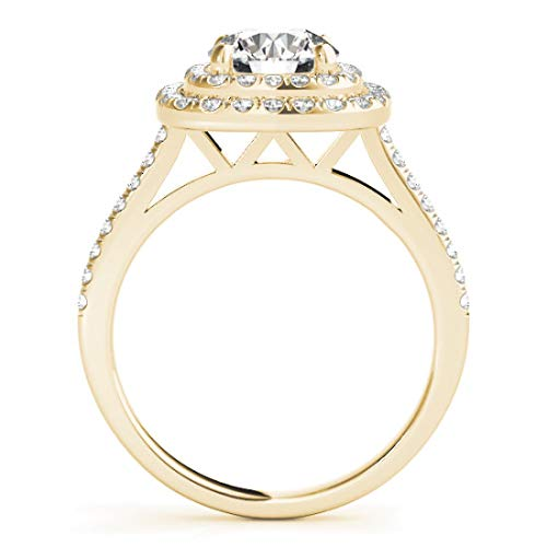Halo Diamond Bridal Ring Set with 1 3/4 cttw of Natural Round Shape Diamonds available in 14K White, Yellow or Rose Gold. Free Gift Box. Free Certificate.