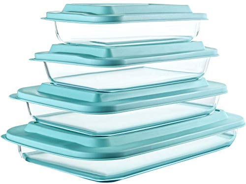 8-Piece Deep Glass Baking Dish Set with Plastic lids,Rectangular Glass Bakeware Set with BPA Free Lids, Baking Pans for Lasagna, Leftovers, Cooking, Kitchen, Freezer-to-Oven and Dishwasher, Green