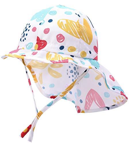 Boomly Baby Sonnenhut mit Nackenschutz Quick Drying Schirmmütze Outdoor Reise UV-Schutz Sommermütze mit Kinnriemen,Weiß 1,3-4 Jahre (Etikette 51)