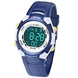 Relojes de Pulsera Electrónicos para Niños Niños Digital Relojes Deportes–5 ATM Reloj Deportivo Impermeable al Aire Libre con Alarma Cronómetro Luces de Colores de Fondo (Azul-1)