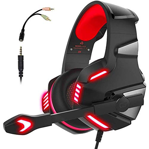 MZZYP Auriculares de Juegos para PS4 Xbox One, Auriculares estéreo sobre oído de 3,5 mm Audio Enchufe de Ruido Cancelación de Sonido Envolvente con luz LED y micrófono Ajustable, Rojo Negro