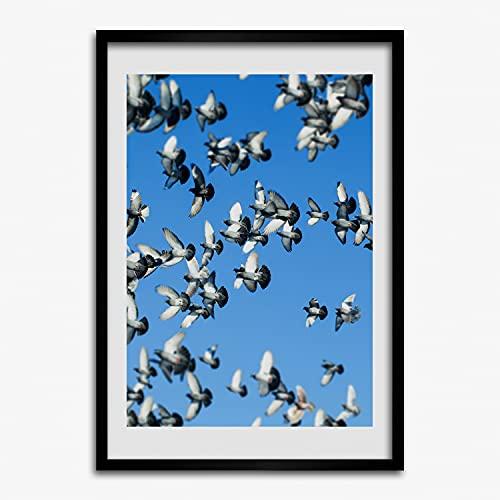 Tulup Imagen en el Marco MDF Impresión Pintura 40x60cm Marco Cuadro Decoración de Pared Salón Cocina Impresiones Póster - Colombe en el Cielo