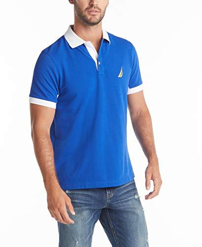 Nautica Men's Classic Fit Short Sleeve Performance Pique Polo Shirt, Bright Cobalt, Large