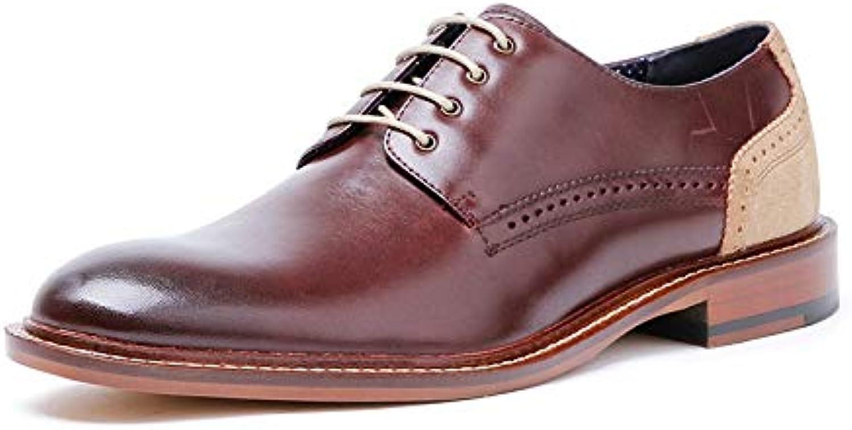 shoes Men Men's Business Leather Men's shoes High-Grade Lace Casual (color   Brown, Size   9.5-MUS)