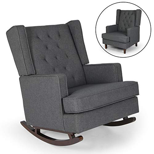 Mid Century Retro Modern Living Room Rocking Chair for Nursery, Fabric Upholstered Chairs, 2 Types of Chair Legs Can be Replaced (Gray)