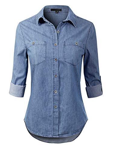 Design by Olivia Women's Basic Classic Roll up Sleeve Button Down Chambray Denim Shirt Medium Denim 2XL