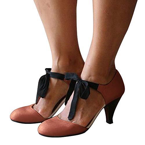 Vertvie Womens hoge hak Sandalen Vintage Peep teen partij bruiloft Tango schoenen Crossover dunne hak Dans schoenen