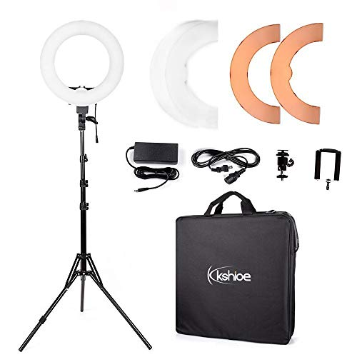 Kshioe 14'' Dimmable Led Ring Light, Continuous Lighting Kit Photography Photo Studio Light for Makeup, Camera Smartphone YouTube Video Shooting