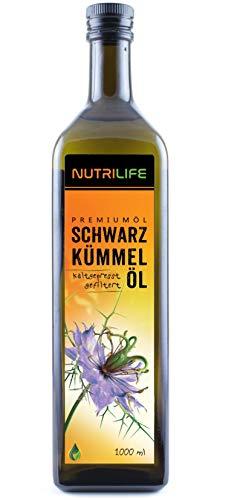 Nutrilife - Schwarzkümmelöl gefiltert 1000ml - 100{ae9a2fbd673af4d9c92cee9b469bad42528482ab6c793bfa5148a5e7bac9036c} pur, kaltgepresst, aus ägyptischen Samen - Frischegarantie: täglich mühlenfrisch direkt vom Hersteller Kräuterland
