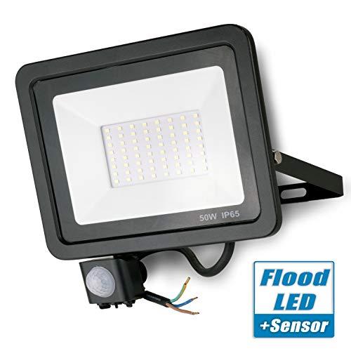 POPP® Foco LED 50W Exterior con Sensor Movimiento PIR, 5000 lumen, Foco LED Sensor IP65 Impermeable, Blanco Frío 5000 K, Ángulo de haz 120°, Foco LED Detector para Jardín, Garaje, Hotel, Patio, etc.