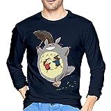 Howl's Castle - Camiseta de manga larga para hombre, estilo casual, 100% algodón, cuello redondo, camiseta de manga larga, azul marino, L