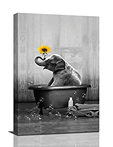 Elephant Sunflower Canvas Wall Art Funny Animal Elephant Bathing In The Bathtub Wall Decor Black and White Pictures Giclee Print Modern Artwork Paintings For Living Room Bedroom Bathroom Framed And Stretched Ready To Hang 8x12inch