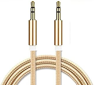 I-Sonite (Gold) Gold Plated Nylon Material Braided 3.5mm Jack to Jack Connection Aux Auxiliary Audio Cable [ 1 Meter ] for...