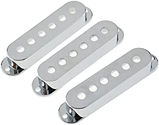 3PCS Single Coil Pickup Covers for Electric Guitar Spacing 48/50/52mm Chrome