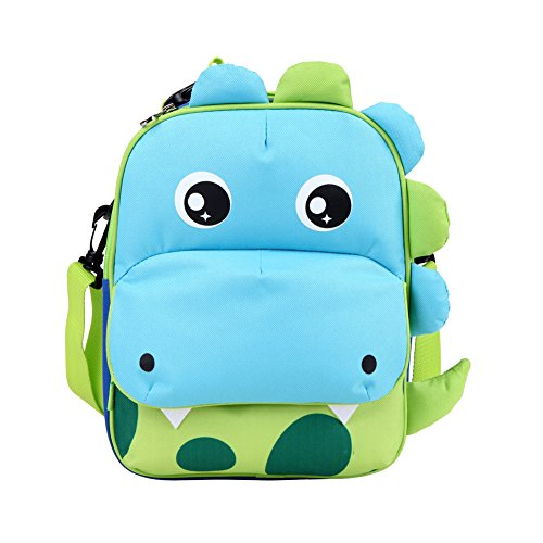 yodo Playful 3-Way Kids Insulated Lunch Bag - Preschool Toddler Backpack,FDA-approved liner, Large Front Quick Access Pouch for Snacks or Knickknacks, Dinosaur